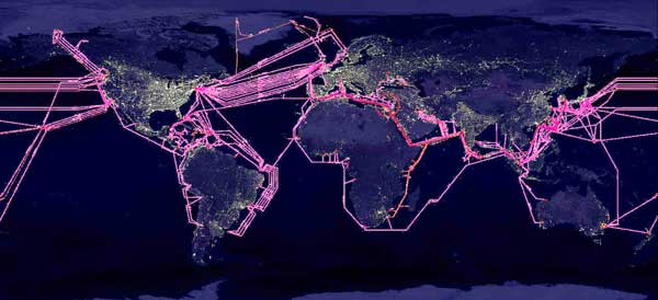 Earth with submarine cables